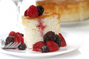 Slice of Angel Food Cake with fresh fruit